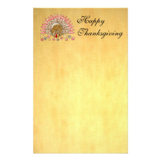 Cute Cartoon Thanksgiving Turkey Stationery Design