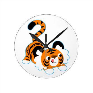 Cute Cartoon Tiger Ready To Play Round Clock