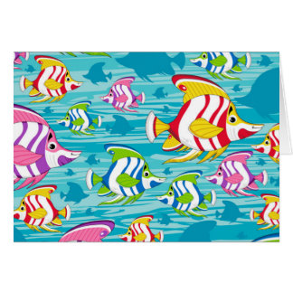 Cute Cartoon Tropical Fish Pattern Card