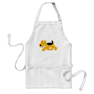 Cute Cartoon Trotting Airedale Terrier Dog Apron