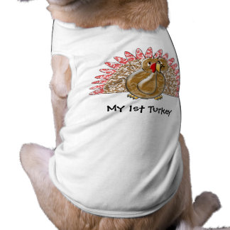 Cute Cartoon Turkey Damask Pattern Dog Tee Shirt