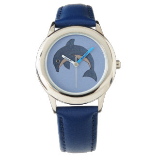 Cute Cartoon Type Shiny Blue white Jumping Dolphin Watch