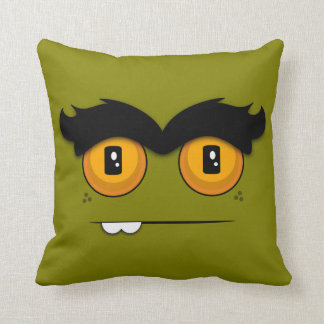 Cute Cartoon Unibrow Monster Face in Olive Green Pillow