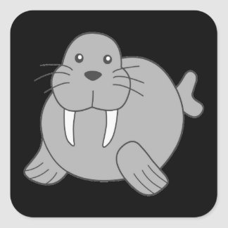 Cute Cartoon Walrus Square Sticker