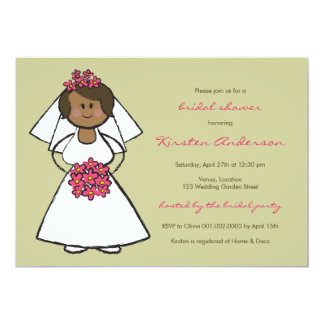Cute Cartoon Wedding Bride Daisies Bridal Shower 13 Cm X 18 Cm Invitation Card