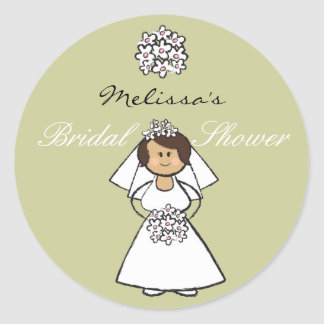 Cute Cartoon Wedding Bride Daisies Bridal Shower Classic Round Sticker