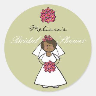 Cute Cartoon Wedding Bride Daisies Bridal Shower Round Sticker