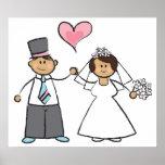 Cute Cartoon Wedding Couple Bride Groom Love Heart