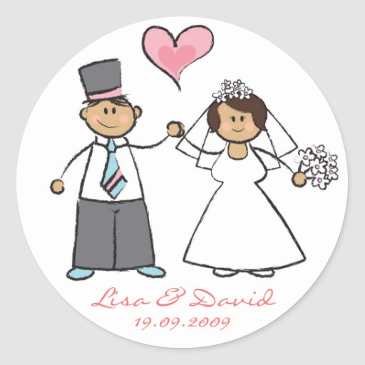 Cute Cartoon Wedding Couple Bride Groom Love Heart Round Stickers