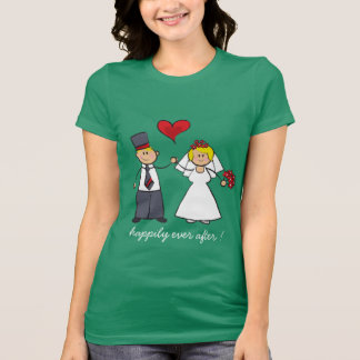 Cute Cartoon Wedding Couple Bride Groom Love Heart T-Shirt