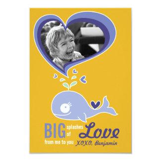 "Cute Cartoon Whale Classroom Valentine Photo 3.5"" X 5"" Invitation Card"