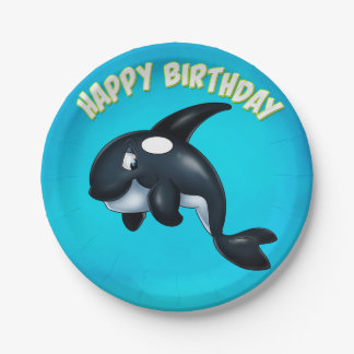 Cute cartoon whale paper plate