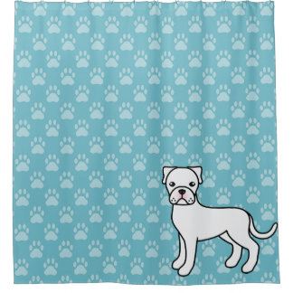 Cute Cartoon White Boxer Dog On Blue Shower Curtain