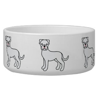 Cute Cartoon White Boxer Dogs Dog Food Bowls