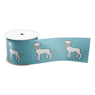 Cute Cartoon White Boxer Dogs Satin Ribbon
