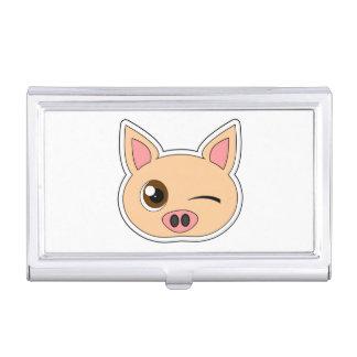 Cute Cartoon Winking Pig Business Card Holder