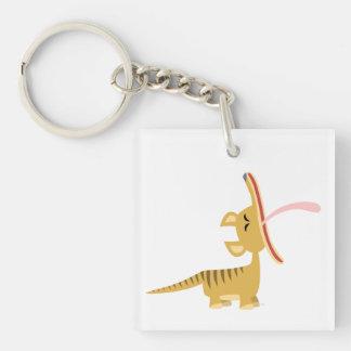 Cute Cartoon Yawning Thylacine Acrylic Magnet Double-Sided Square Acrylic Key Ring
