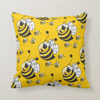 Cute Cartoon Yellow Bumble Bee Throw Pillow