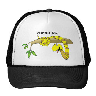 Cute Cartoon Yellow Snake in a Tree Reptile Cap