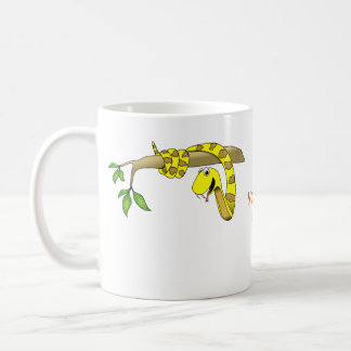 Cute Cartoon Yellow Snake in a Tree Reptile Coffee Mug