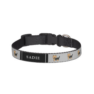 Cute Cartoon Yorkshire Terrier Dogs & Dog's Name Pet Collar