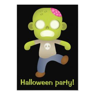 Cute Cartoon Zombie Boy Halloween Party Invites
