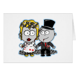 Cute cartoon Zombie bride and groom wedding gifts Card