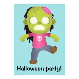 Cute Cartoon Zombie Girl Halloween Party 13 Cm X 18 Cm Invitation Card