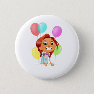 Cute cartoony girl with balloons smiling 6 cm round badge