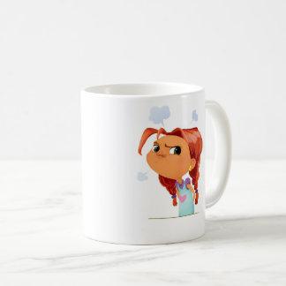 Cute cartoony girl with balloons smiling coffee mug