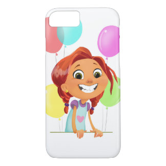 Cute cartoony girl with balloons smiling iPhone 8/7 case