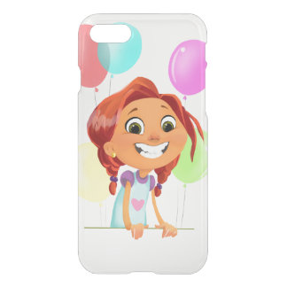 Cute cartoony girl with balloons smiling on front iPhone 8/7 case