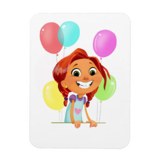 Cute cartoony girl with balloons smiling on front magnet