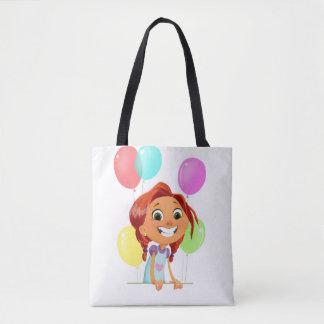 Cute cartoony girl with balloons smiling tote bag