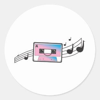Cute cassette tape round stickers
