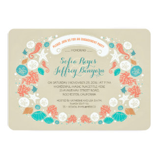 Cute casual beach engagement party invitations
