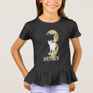 Cute Cat 3rd Birthday With Gold Typography Kids T-Shirt