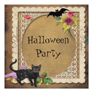 Cute Cat and Bat Vintage Halloween Party Card