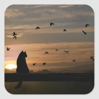 Cute Cat and Birds in the Sunset Decals Square Sticker