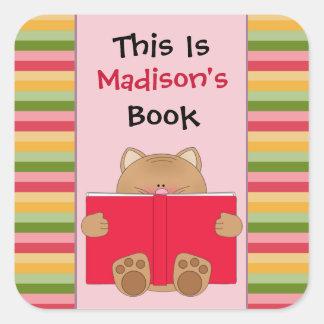 Cute Cat And Book Children's Bookplate Square Sticker
