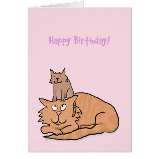 Cute Cat and Kitten Birthday Card