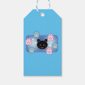 Cute cat and paw pads (blue) gift tags