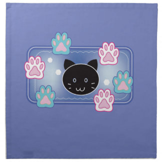 Cute cat and paw pads (blue) napkin
