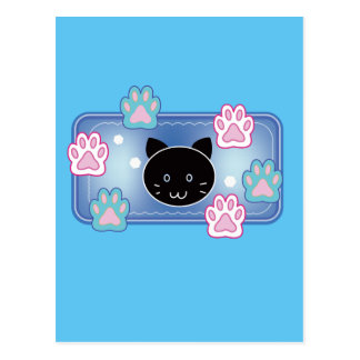 Cute cat and paw pads (blue) postcard