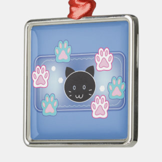 Cute cat and paw pads (blue) Silver-Colored square decoration