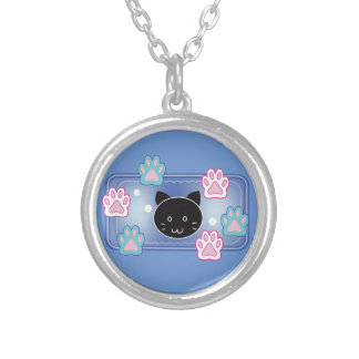 Cute cat and paw pads (blue) silver plated necklace
