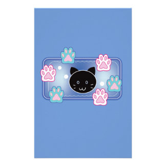 Cute cat and paw pads (blue) stationery