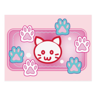 Cute cat and paw pads (pink) postcard