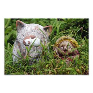 Cute Cat and Tanuki Statues in the grass Photo Art