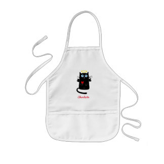Cute Cat Angel Heart Personalized Kids Apron